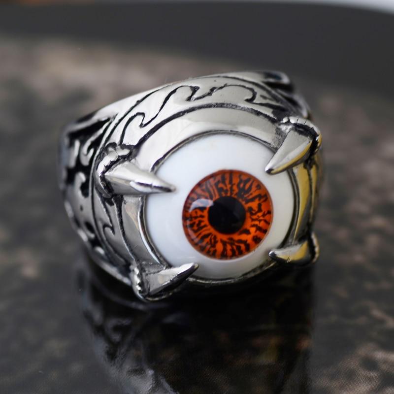 Valile Vintage Talon Dragon Claw Evil Devil Biker Ring unazë gishti çeliku inox punk për burra bizhuteri me ngjyra portokalli sy për ahengje