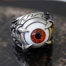 ALYRIA Stainless Steel Talon Dragon Claw Evil Devil Eye Biker Men's Ring,Orange Ancient Silver 925 sterling silver dragon claw round green cz eye mens biker skull ring 9m202a
