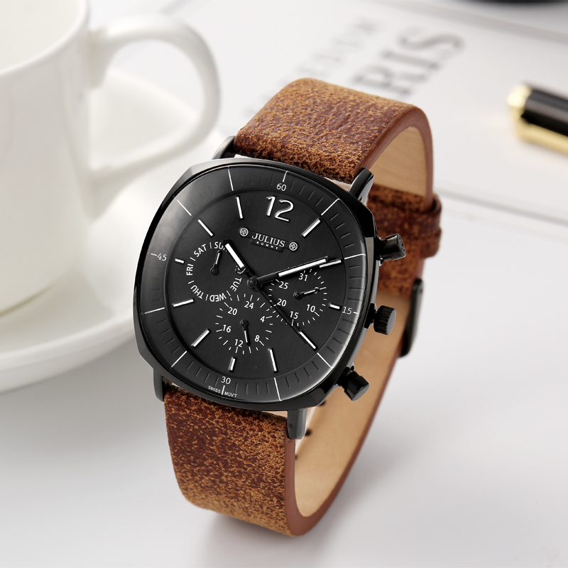 Real Functions Men's Watch ISA Or Epson Mov't Hours Clock Business Sport Bracelet Leather Boy Birthday Christmas Gift Julius Box