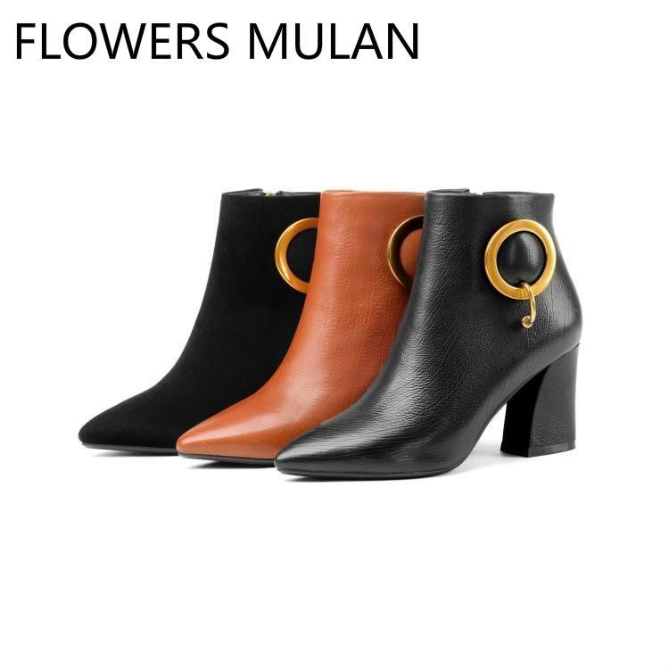 ed3c0fd5dd07c Carré Botas Bottes Chaussures Noir D hiver Glissière Pour Cheville Pointu  Suede En Piste Orange leather Talon Bout Femme ...