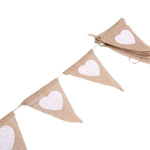 Image 4 - Love Heart Rustic Hessian Jute Linen Bunting Flags Burlap Lace Pennant Party Garland Wedding Decoration