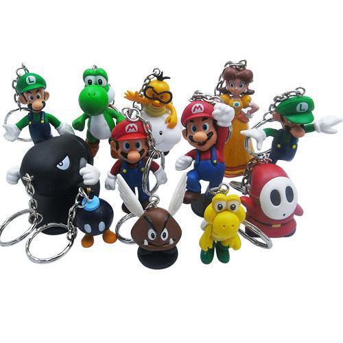 PVC Super Mario Keychain Bros Luigi Action Figures 12pcs/set Youshi Mario Gift Opp Retail