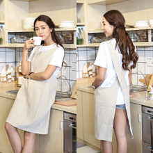 ФОТО dreamsoule free lace apron white pure color linen household apron coffee shop apron for cooking kitchen - white