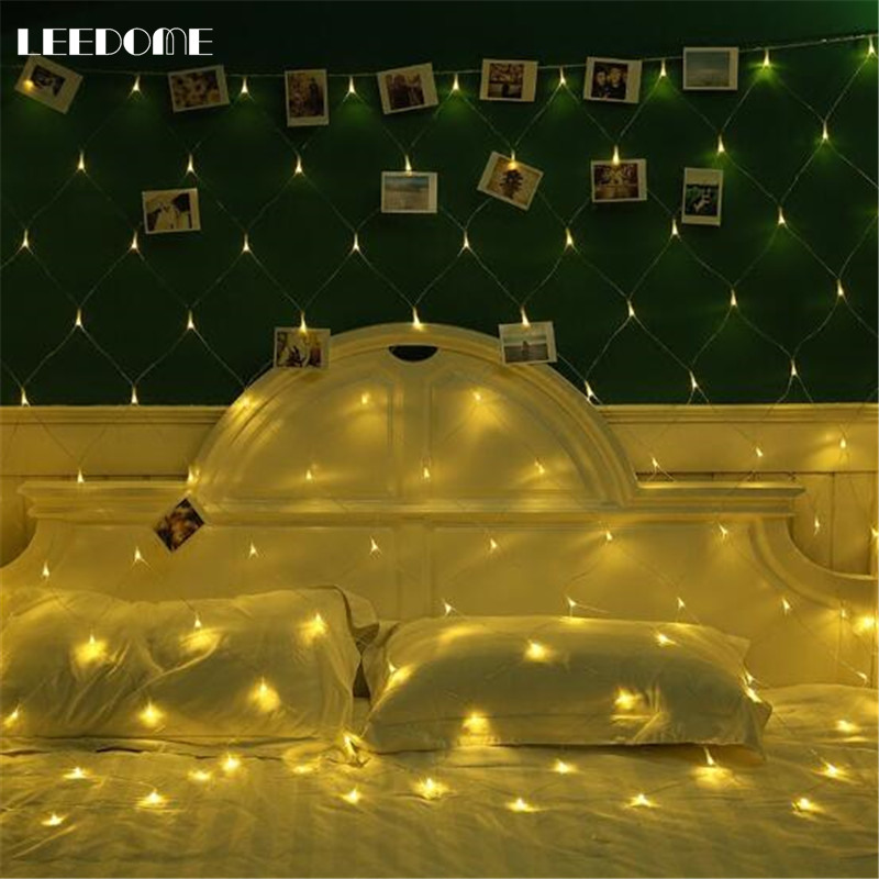 Dropship Fairy Net Holiday String Light 1.5x1.5m 3x2m EU Plug Christmas Wedding Outdoor Curtain Garden Decor String Luminaire