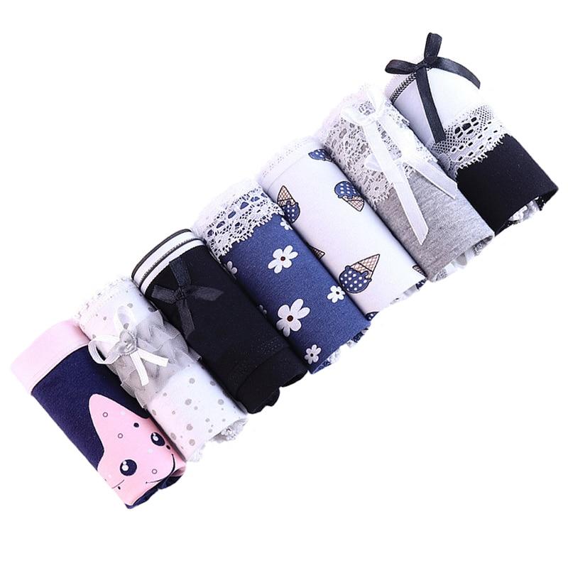 7 Pieces/lot Cotton Panties Women Underwear Sexy Briefs Seamless Cute Print Briefs Soft Comfort Plus Size Girls panties