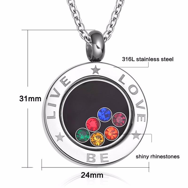 Live-Be-Love Rainbow Rhinestones Stainless Steel Pendant Necklace