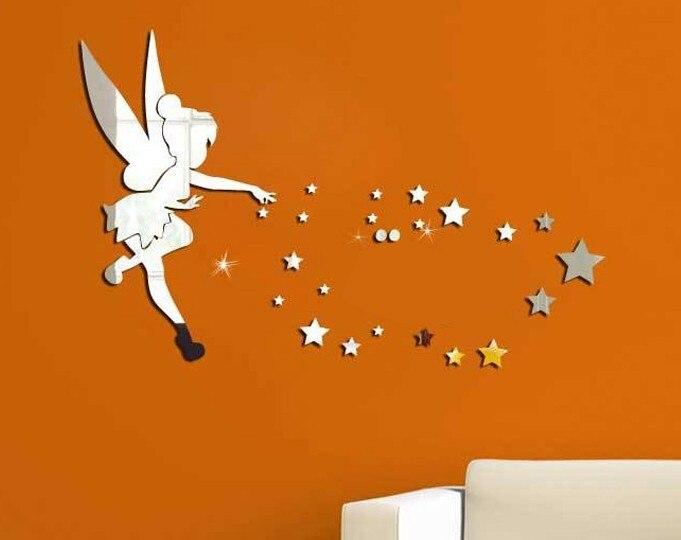 送料無料角、22ピース星と2ラウンドミラーステッカー子供のための家の装飾、3dアクリル壁のミラーステッカー