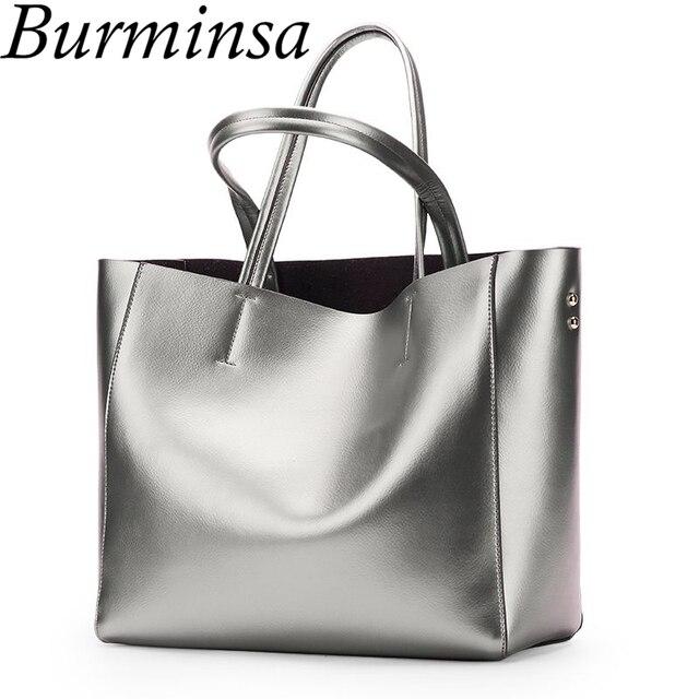 e79c5cc14a40 Burminsa пояса из натуральной кожи большой вместительные сумки для покупок  дамы Серебристые сумочки Женский на плечо высокое качество дл