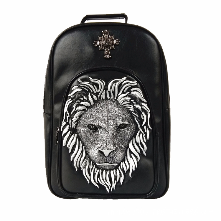 3d Embossed Lion Head Bucket Soft Backpack With Stunning Spikes Cool Leather Travel School Bagpack Punk Rock Concert Bags #6