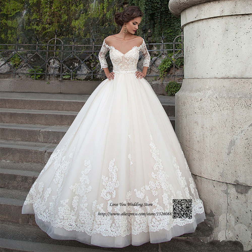 Gothic Wedding Dress Turkey 3/4 Sleeve Ball Gown Bridal Dresses Lace ...