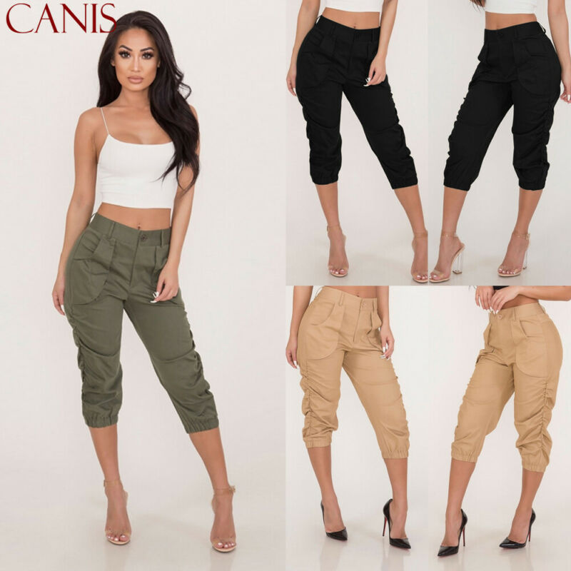 Women's Casual Pencil Pants High Waist Pockets 3/4 Cargo Jogger Slim Trousers