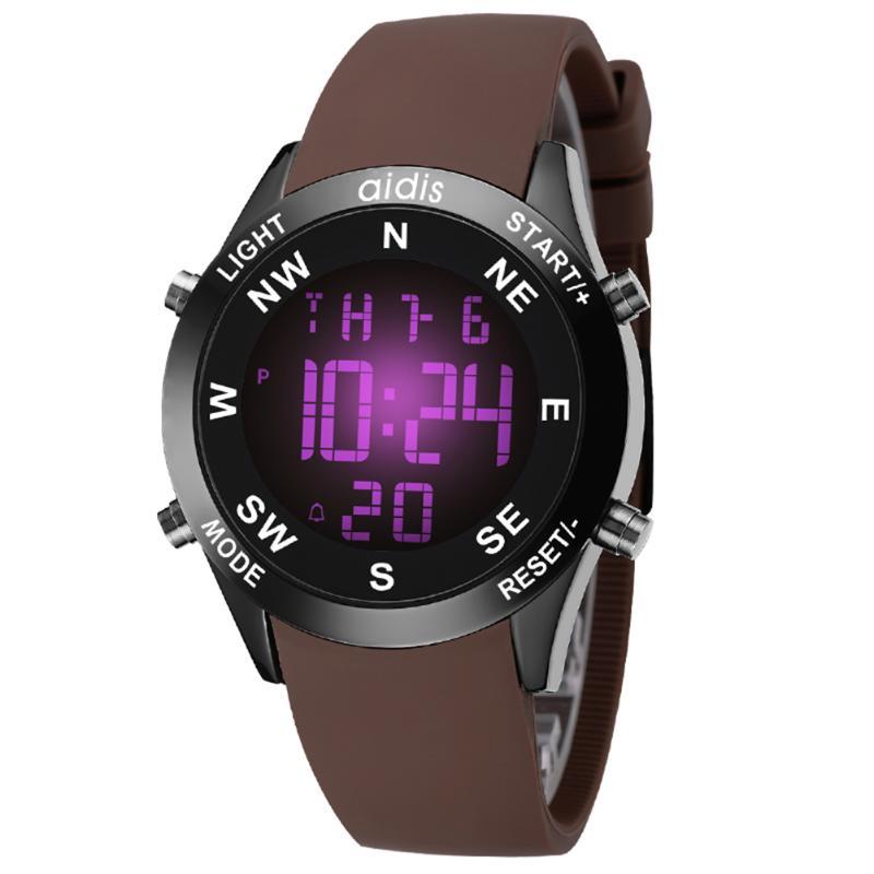 лучшая цена Backlight Digital Watch PU Leather Wrist Watches Man Electronic LED Display Wristwatch Male Business Clock