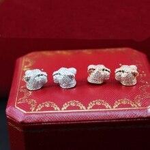 Pure 925 Sterling Silver Jewelry For Women Leopard Earrings Panther Head Stud Earrings Silver Wedding Party Silver Earring