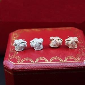Image 1 - Saf 925 Ayar Gümüş Takı Kadınlar Için Leopar Küpe Panter Kafa Saplama Küpe Gümüş Düğün Parti Gümüş Küpe