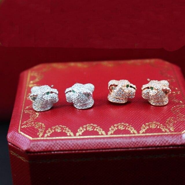 Saf 925 Ayar Gümüş Takı Kadınlar Için Leopar Küpe Panter Kafa Saplama Küpe Gümüş Düğün Parti Gümüş Küpe