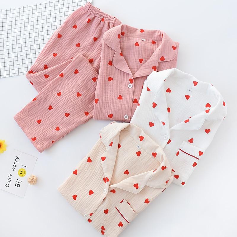Japanese Cotton Gauze Pajamas Sets Kimono Women's Long-sleeved Double-layer Love Cute Yukata Spring Autumn Cloth Home Sleepsuit