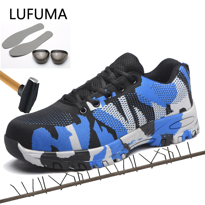 LUFUMA Man Big Size Piercing Outdoor Shoes Men Steel Toe Cap Military Safety Work Boots Camouflage Puncture Indestructible Shoes
