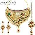 Luxo banhado a ouro de cristal de zircão conjuntos de jóias kundan bollywood girassol choker neckalces brincos pendurados hairwear para as mulheres