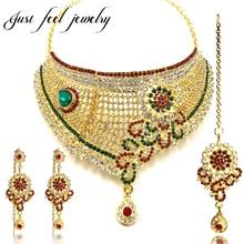 Luxury Gold Color Jewelry Sets Bollywood Kundan Zircon Crystal Sunflower Choker Neckalces Hanging Earrings Hairwear for Women