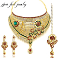 Luxury Gold Plated Jewelry Sets Bollywood Kundan Zircon Crystal Sunflower Choker Neckalces Hanging Earrings Hairwear for Women