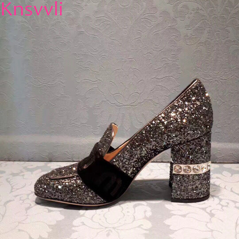 Knsvvli Autumm New Crystal Silver High Heel Shoes Woman Square Toe Chunky Heel Shallow Genuine leather Bling Women Pumps luxury hot selling golden color heel with bling bling crystal clock decoration pumps glossy patent leather chunky heel shoes