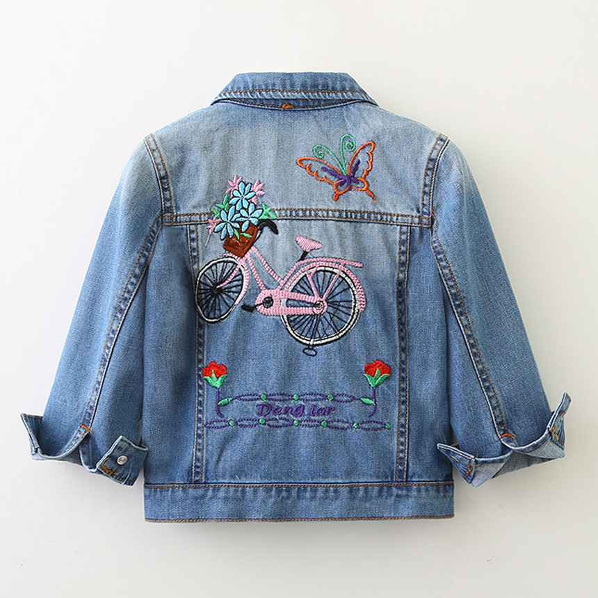 Baby Girls Denim Jackets Coats Long Sleeves Embroidery Bicycle Denim Jacket Spring Fall Children Outwear Kids Denim Coat 2-10 Y