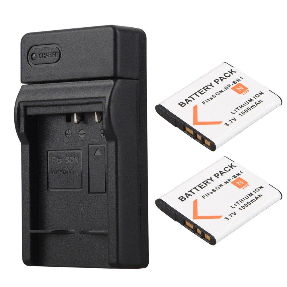 2pcs 1000mAh NP-BN1 NP BN1 NPBN1 Digital Camera Battery Battery + USB Charger for Sony TX9 WX100 TX5 WX5C W620 W630 W670 TX100 travel us plug car ac digital camera battery charger set for kodak sony np bn1 black white