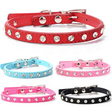 Puppy font b Dogs b font Collar Bell Rhinestone PU Leather Cat Supply Collars Pet Neck