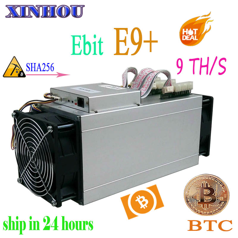 Used BTC BCH Miner Ebit E9 Plus 9TH/s SHA256 Asic Miner Economic Than Antminer S9 S17 S15 S11 T15 Z11 Z9 B7 Whatsminer M3 M10 T3