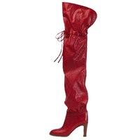 Новинка 2019 года; женские Сапоги выше колена на толстом каблуке; сапоги для верховой езды с круглым носком; цвет красный, черный; сапоги для ве