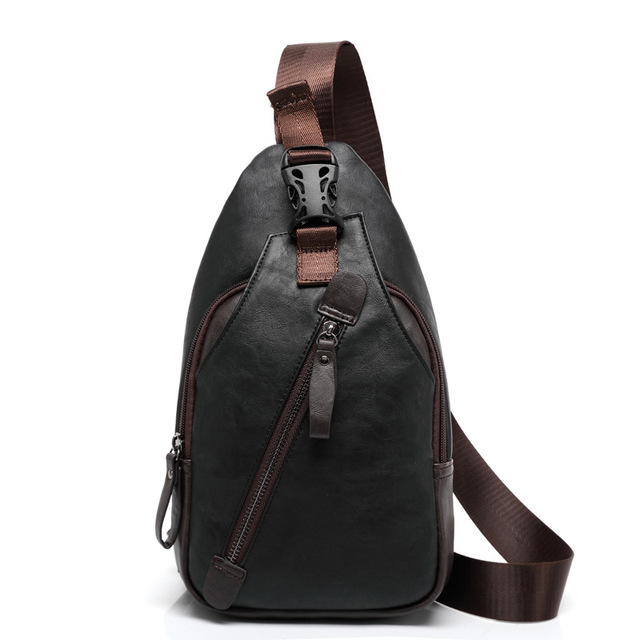 41d8f00d11d6 New Arrival Anti-theft Clasp Open Men Leather Chest Bag Famous Brand Men  Travel Sling Shoulder Bag Casual Crossbody Bag