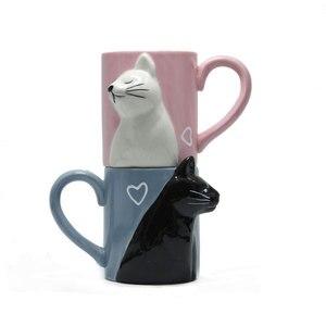 Image 5 - 2pcs 럭셔리 키스 고양이 컵 커플 세라믹 머그잔 결혼 커플 기념일 아침 머그잔 우유 커피 차 아침 발렌타인 데이