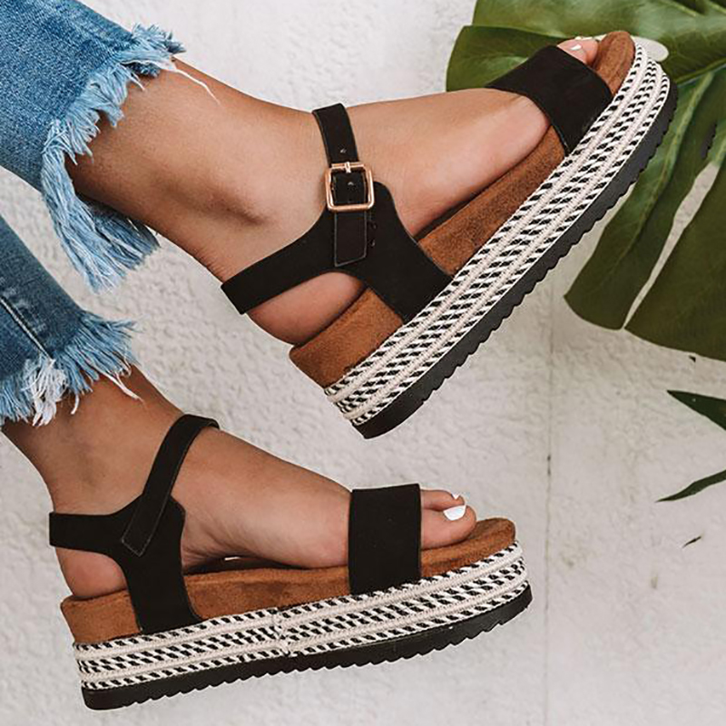 Wedges Shoes Sandals Heels Chunky Summer Platform Comfort Plus-Size Casual HTHL666 35-43