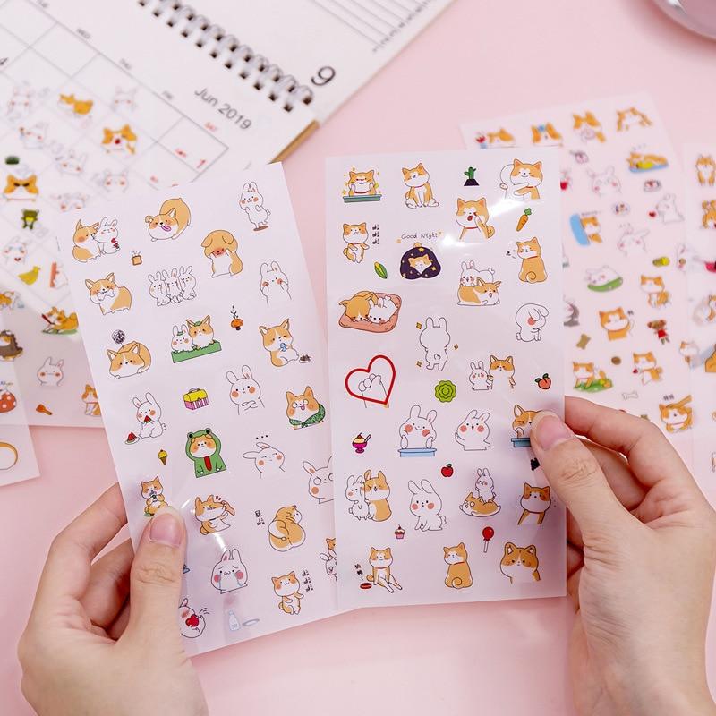 6 Pcs/pack Cute Cartoon Decorative Stickers Kawaii Dog DIY Diary Scrapbooking Student Sticker Stationery School Supplies