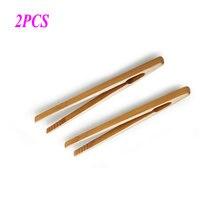 2 шт. бамбуковая чайная посуда чайные зажимы деревянные тосты Тонг деревянный тостер бублик бекон соковыжималка сахар лед чай щипцы 18 см
