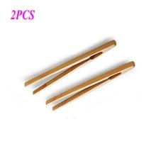 2 uds. Pinzas para té de bambú pinzas para té tostadas de madera Tong tostadora de madera Bagel tocino exprimidor azúcar hielo té pinzas 18CM