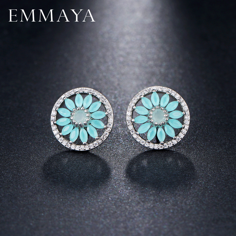 EMMAYA Luxury Light Blue Flower AAA Cubic Zirconia Stud Earings For Women Bridal Party Fashion Jewelry brincos ...