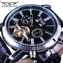 Jaragar Men Watches Automatic Silver Case Calendar Roman Analog Watch Casual Leather Business Sport Wristwatch Mechanical Montre