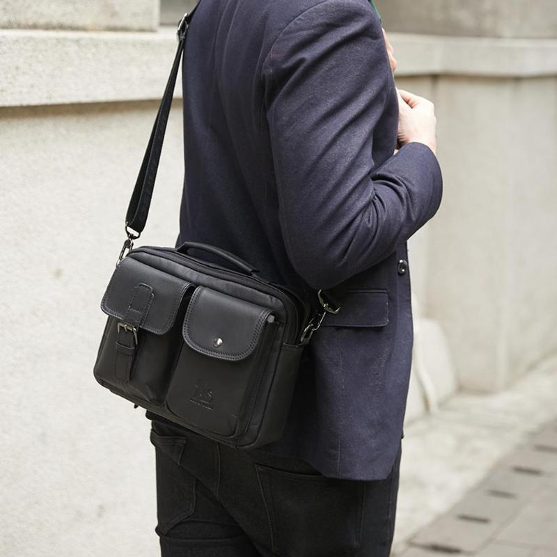 HTB1zTQPPIfpK1RjSZFOq6y6nFXaW Men Business Briefcase Vintage Genuine Leather Laptop Messenger Bag Cowhide Big Capacity Tote Office Handbag Men Briefcase