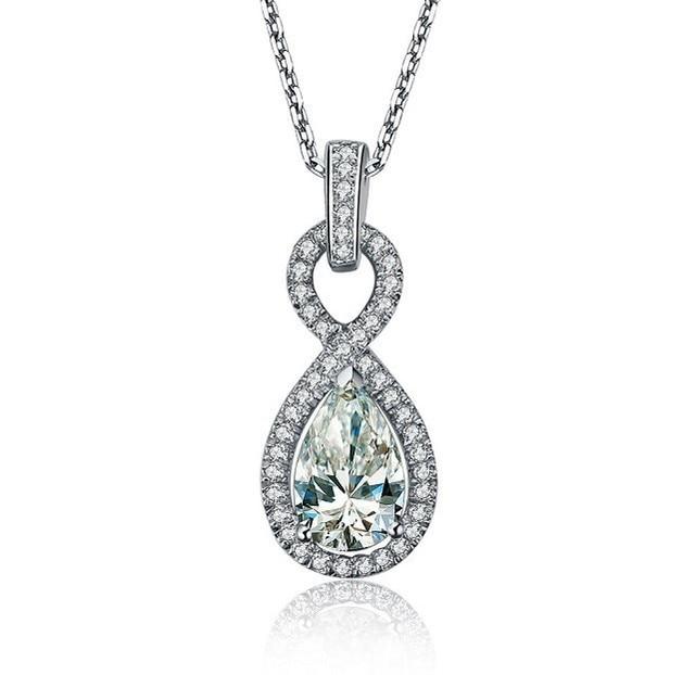 Xmas 2ct pear shape 2carat diamond pendant necklace for girlfriend xmas 2ct pear shape 2carat diamond pendant necklace for girlfriend wedding pendant for women luxury bridal aloadofball Image collections