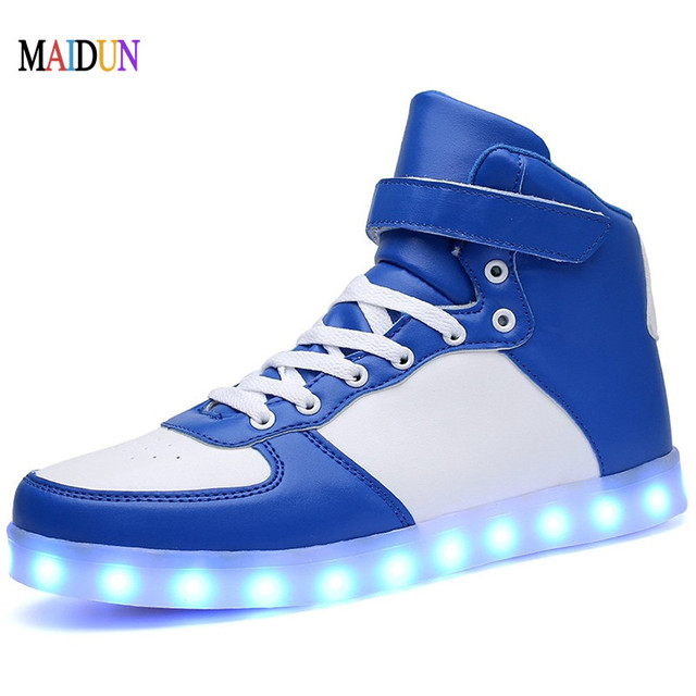 feae130ee5 Fashion Neon LED Shoes Men High Top Light Up Luminous Leisure Footwear  Boots Neon Footwear Shoes