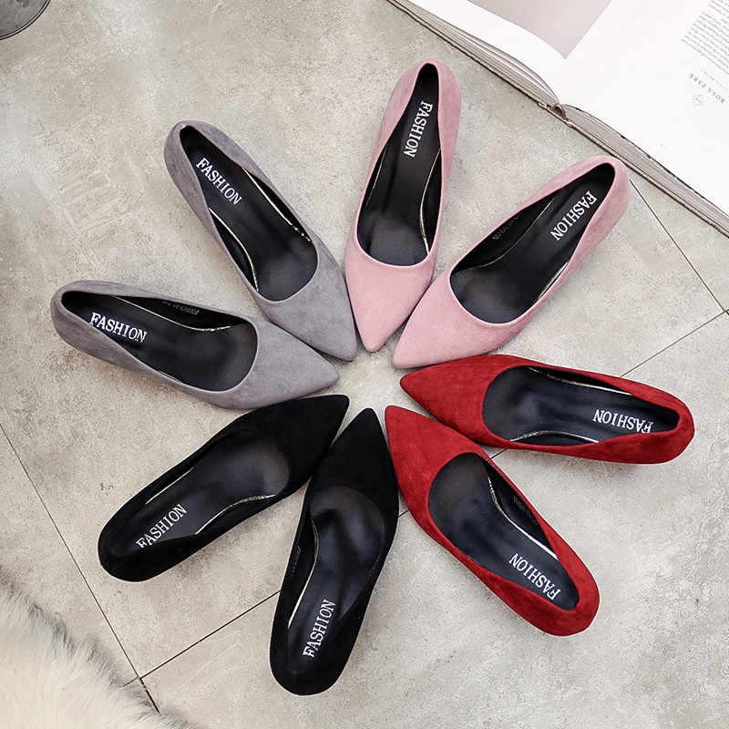 2020 Thu Mới Hàn Quốc Chỉ Nữ Gợi Cảm Cao Cấp Màu Đen Dày Dặn Với Hoang Dã Đơn Giày Nữ Giày Nữ S023