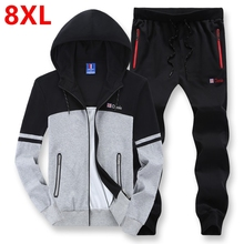 Мужская случайных спортивной жира большой размер 8XL капюшоном спортивный костюм хлопок свитер плюс размер мужчины устанавливает негабаритных 7XL