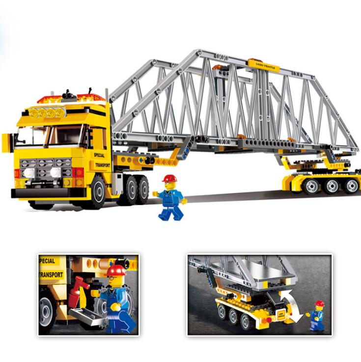 LEPIN City Bridge Construction 02041 Heavy Loader Building Blocks Bricks Toys For Children compatible 7900 hot sembo block compatible lepin architecture city building blocks led light bricks apple flagship store toys for children gift