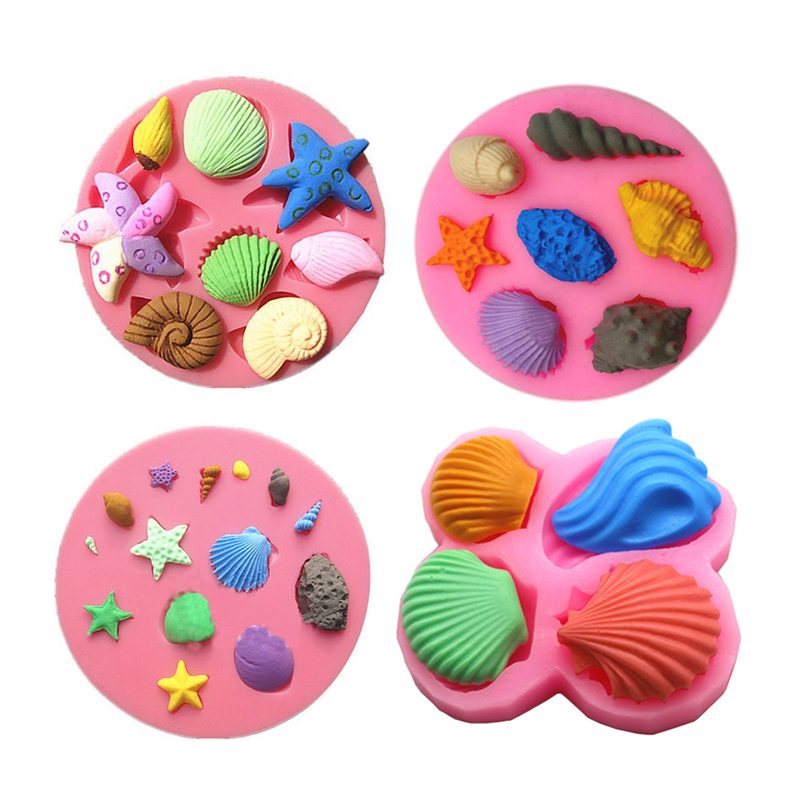 Free shipping shell cooking tools chocolate ice mold wedding Decorating Silicone Mold baking Fondant candy Sugar Craft DIY Cake