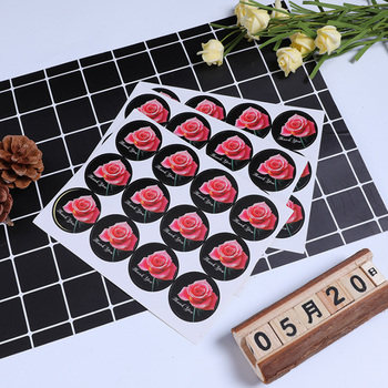 120pcs/lot Round Black Thank you Rose Flower Adhesive Baking Seal label Handmade Gift sticker