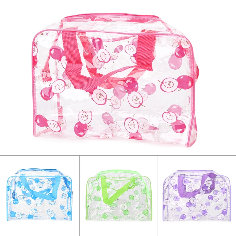 THINKTHENDO Women Lady Travel Apple Pattern Cosmetics Bag Clear Toiletry Handbag Makeup Pouch PVC New Purple/Green/Blue/Red ywdg 3a24776 beetles pattern 24 cd carrier bag pouch deep green