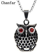 Фотография Chanfar Vintage Crystal Paved Stainless Steel Owl Necklace Pendant  Women Long Necklace Men Christmas Accessories