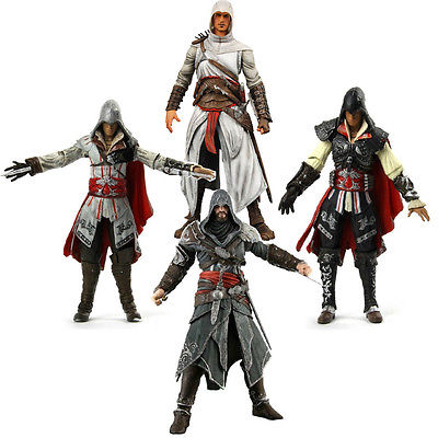 Free shipping 7inch ASSASSINS CREED 1 2 3 generation Ezio Altair Hartel PVC Action Figures Model collection toy neca 7 assassins creed altair ezio action figure pvc doll model collectible toy gift