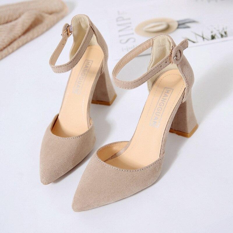 Shoes Woman 2019 Spring 6cm High Heels Slingbacks Female Thin Pint Toe Flock Women Summer Sandals